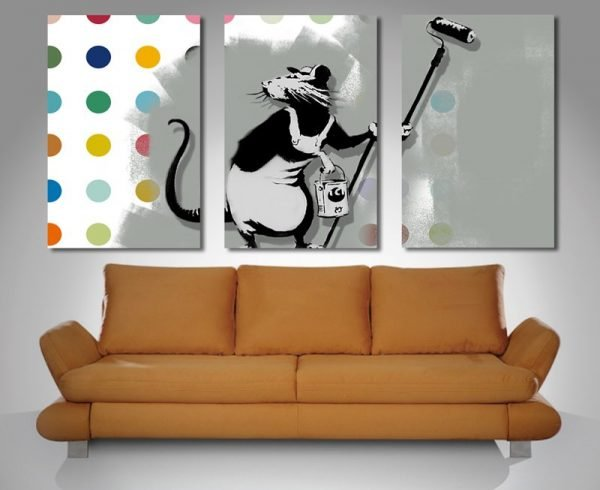 Triptych Banksy Canvas Print.