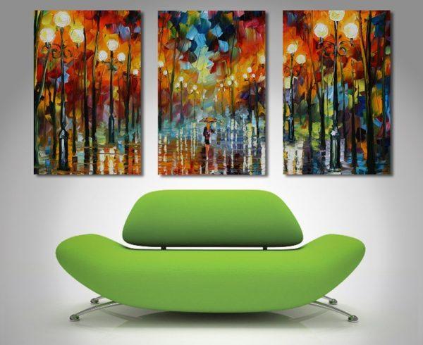 Afremov Triptych Modern Art Painting Canvas Print