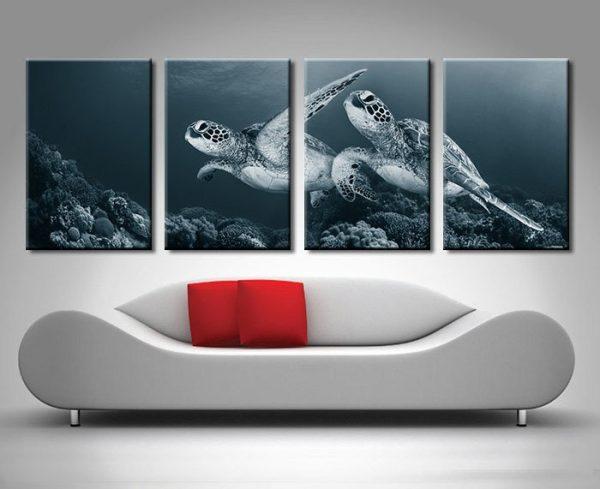 Turtles Monochrome 4 Panel Art