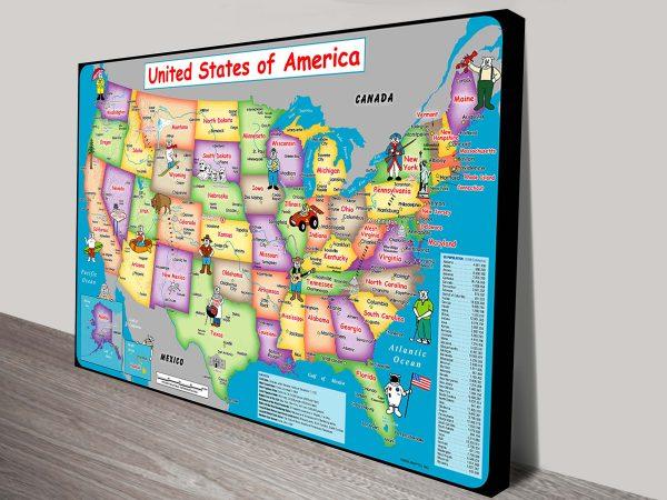 USA fun map canvas art print