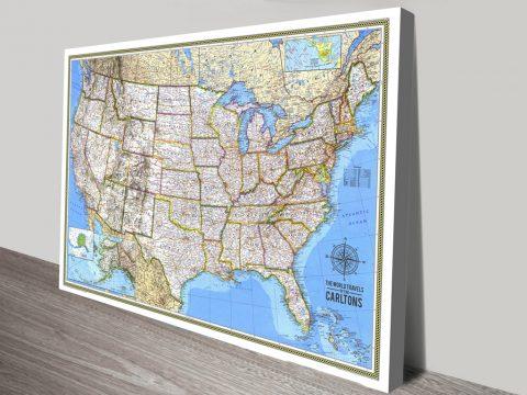 Personalised USA Push Pin Travel Map Canvas Print