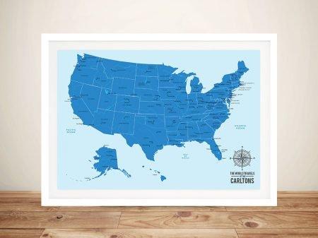 Personalised Baby Blue USA Push Pin Travel Map