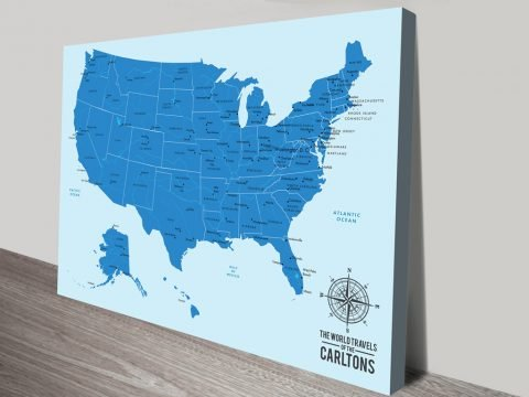 Personalised Baby Blue USA Push Pin Travel Map Canvas Print