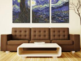 The Starry Night Triptych Wall Art Split Canvas Print Set
