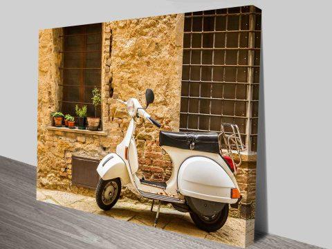 Vespa Moped on Italian street in Italy Canvas Print