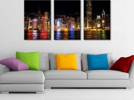 Victoria Harbour Hong Kong Split Canvas Triptych 3 Panel Wall Art