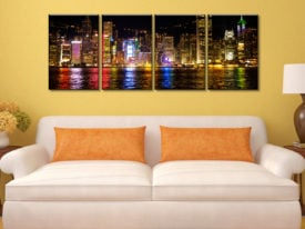 Victoria Harbour 4 Panel Stretched Canvas