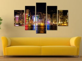 5 Panel Split Wall Art Print of a Victoria Harbour in Hong Kong