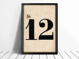 Vintage Typography Framed Numbers Wall Art 12