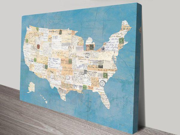 Vintage USA Map Canvas Print
