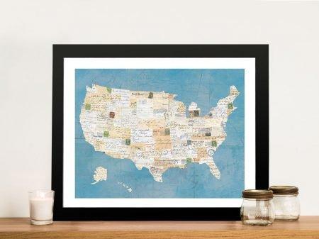 Vintage USA on Blue Framed Wall Art