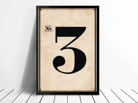 Vintage Typographic Wall Art Numbers 3