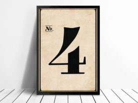 Vintage typographic Wall Art Numbers 4