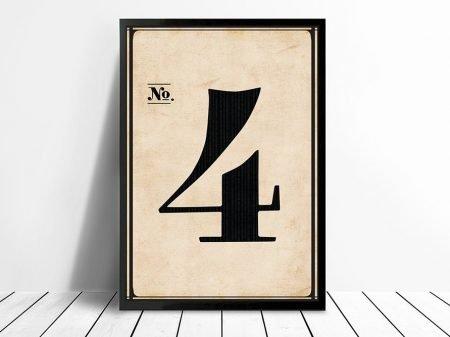 Vintage typographic Wall Art Numbers 4