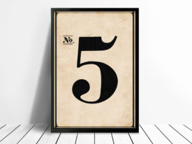 Vintage Typographic Wall Art Numbers 5