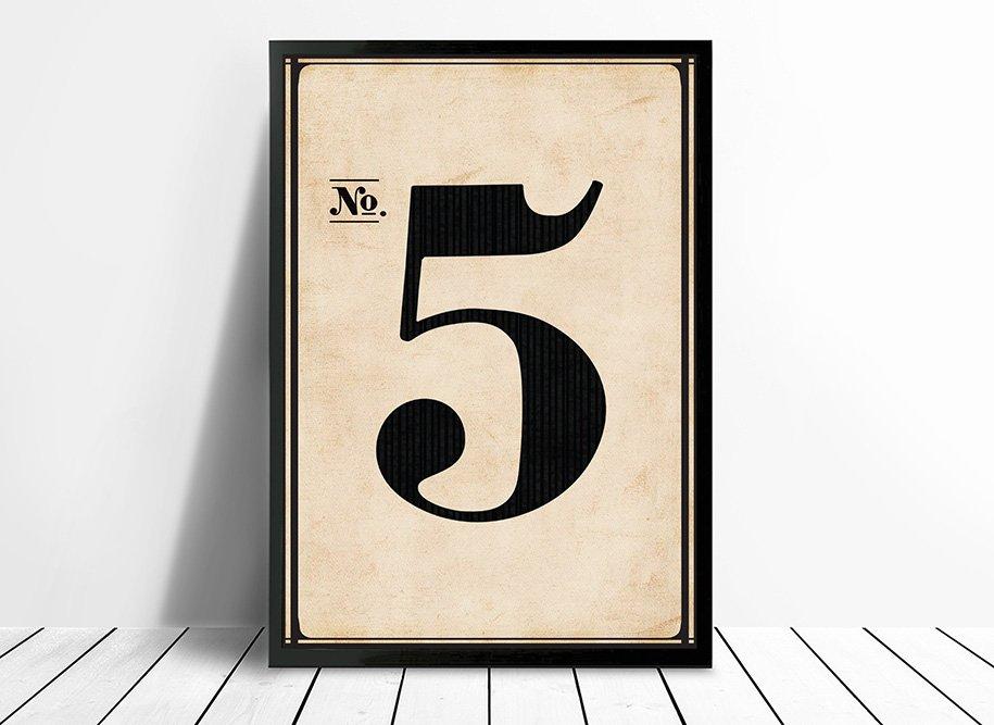 Vintage Typographic Wall Art Numbers 5