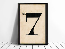 Vintage Typographic Wall Art Numbers 7