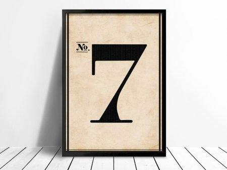 Vintage Typographic Wall Art Numbers 7