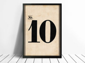 Vintage Framed Numbers Wall Art 10 Sydney