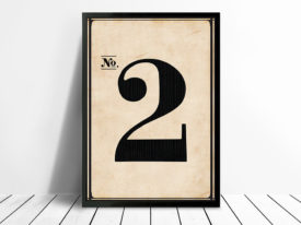 Vintage Typographic Wall Art Framed Number 2