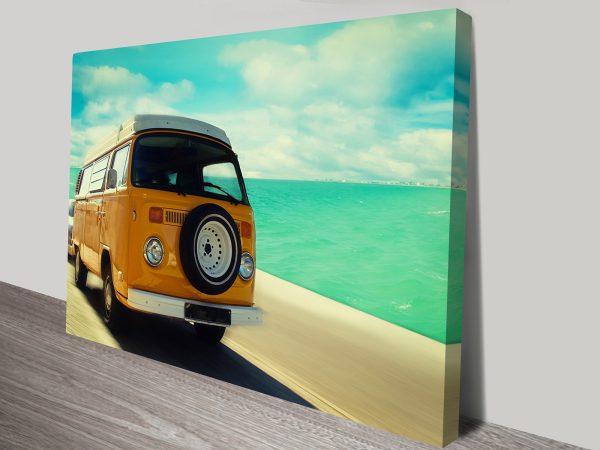 Vintage VW Van Retro Canvas Art Print