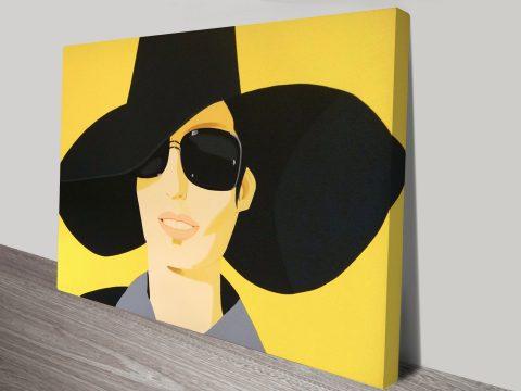 Vivien in Black Hat Alex Katz Canvas Print