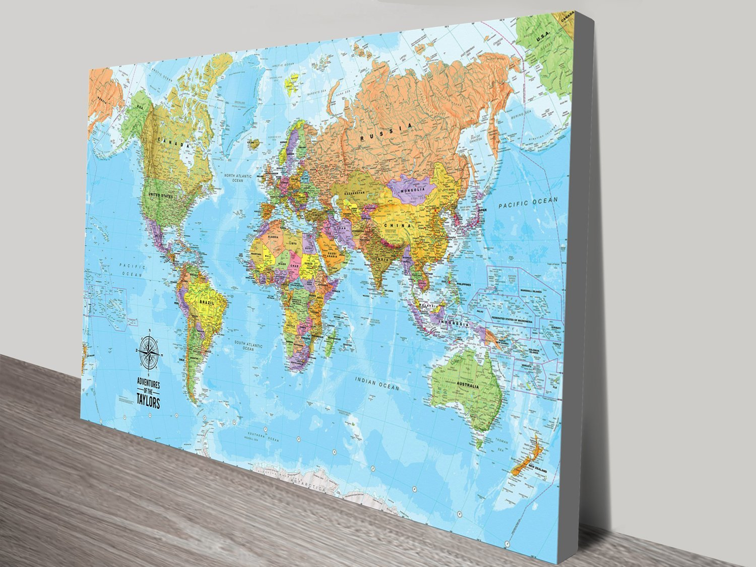 Bespoke world travel push pin world map canvas artwork sydney bespoke push pin world travel map gumiabroncs Gallery