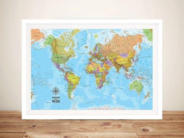 Voyager Push Pin World Map Framed Art