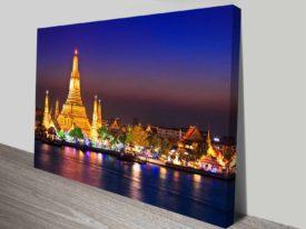 Wat Arun Temple Bangkok Thailand Asia Ready to Hang Canvas Wall Art