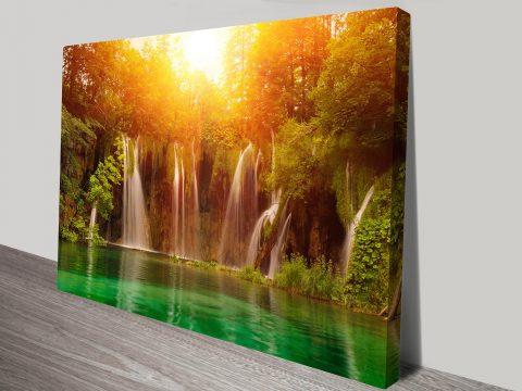 Waterfalls Oasis Sunset Canvas Print