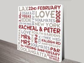 Wedding Personalised Canvas Art Gift