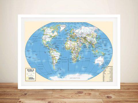 Buy World Map Canvas Wall Art Picture Sydney Australia