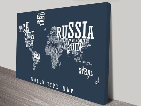 World Type Map Art