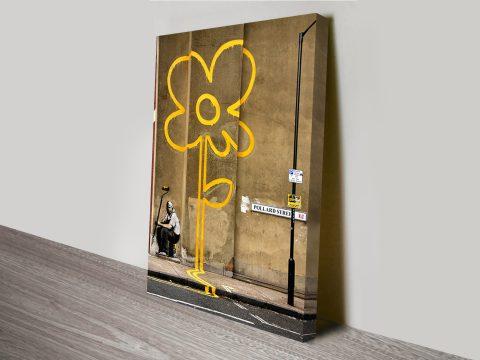 Banksy Yellow Line Man on canvas Australia