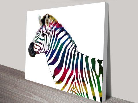 the rainbow striped zebra canvas wall art