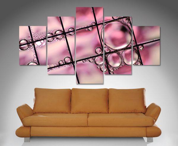 pink abstract split canvas art