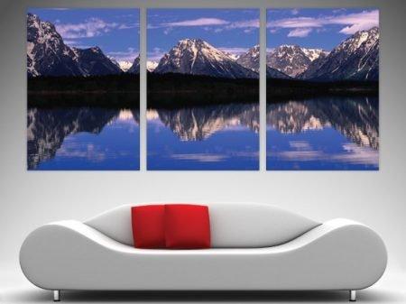 alpine lake 3 panel split canvas