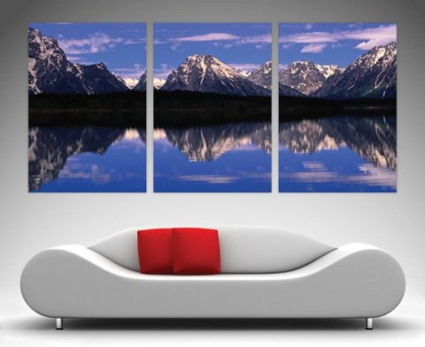 alpine lake 3 panel split canvas