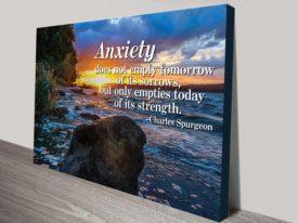 anxiety quote wall art canvas print australia