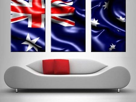 australian flag triptych wall art print on canvas australia