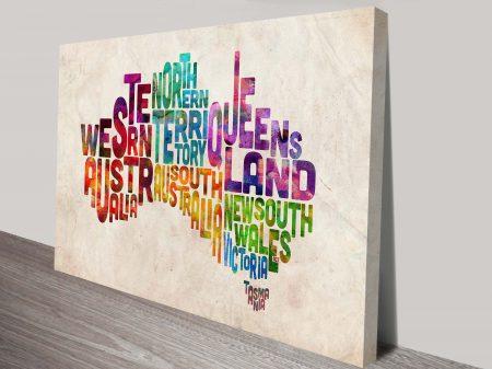 Michael Tompsett Australia Typographic Text Map Wall Art