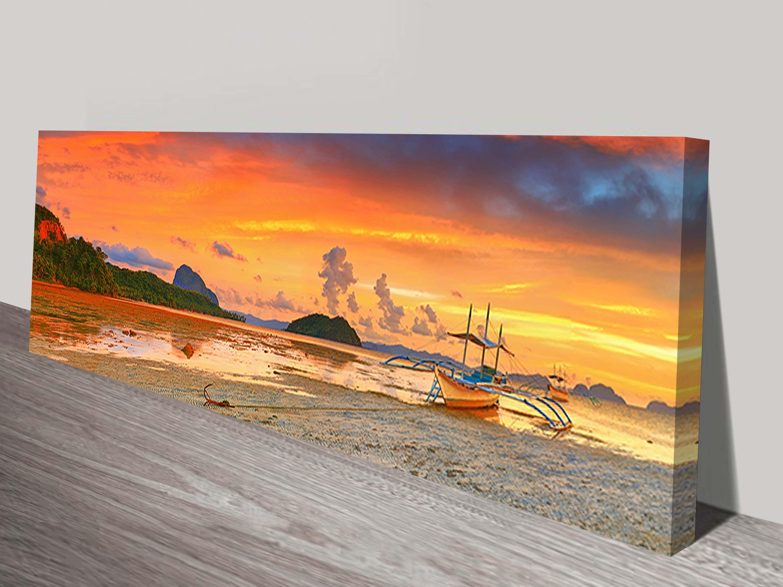 bangka boat at sunset panorama philippines art