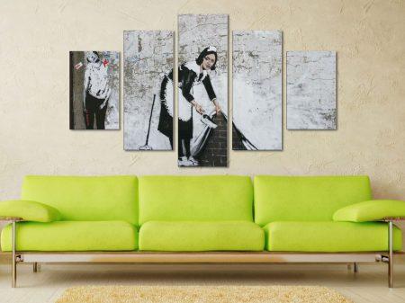 Banksy Keeping It Spotless 5 Piece Artwork Canvas Prints