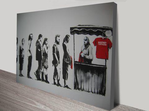 banksy destroy capitalism t-shirts