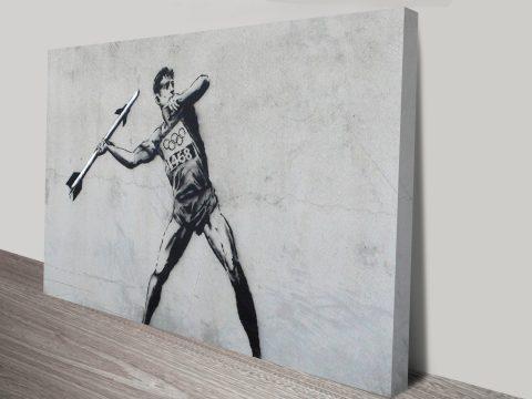 banksy javelin thrower olympics
