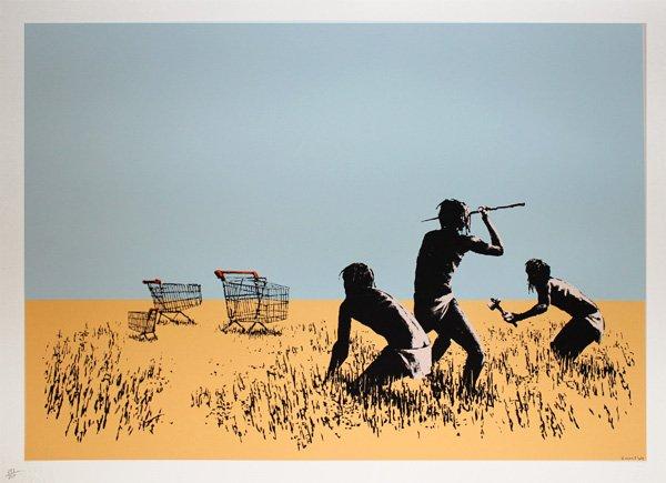 Banksy Trolley hunters print Australia