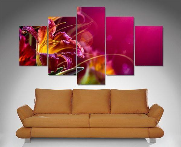 Floral Paradise 5 Panel Canvas Print Art Set