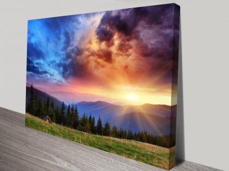 beautiful mountain scenery sunset art