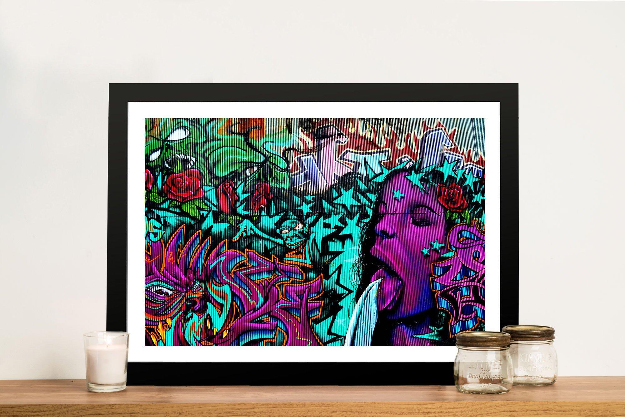 Bejewelled Street Art Framed Print & Colourful Street Wall Art u0026 Graffiti Canvas Prints Australia