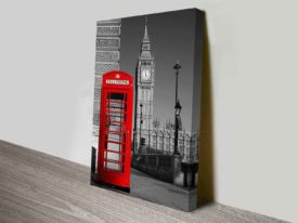 Big Ben Red Telephone Box London British Photography Canvas Wall Art